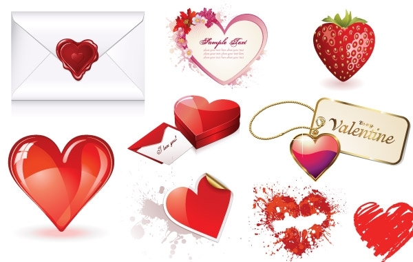 Free Valentines Day Heart Vector Set