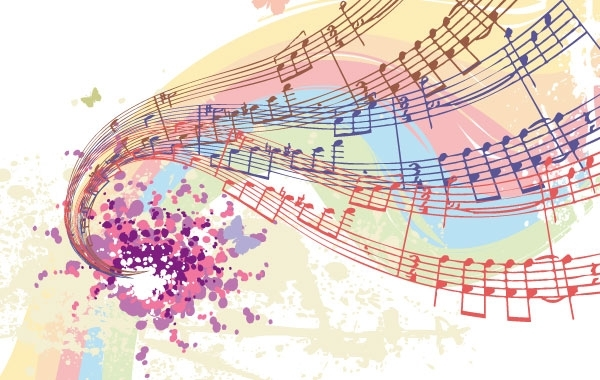 Free Free Vectors: Colorful Musical Notes