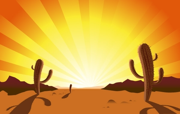 Free CACTUS IN DESERT SUNRISE