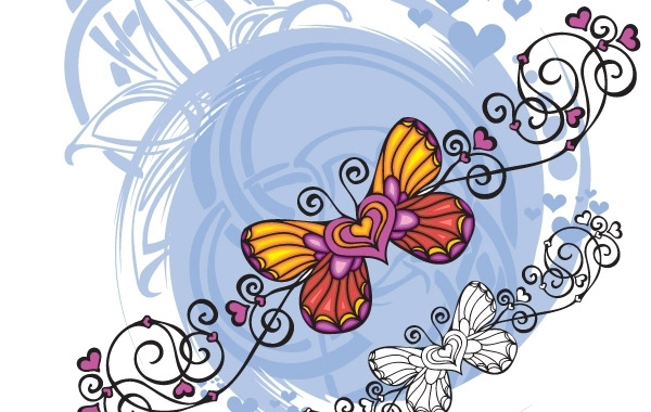 Free Butterfly Heart Shaped vector