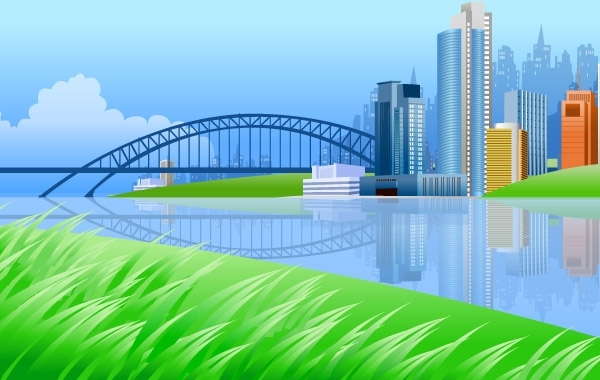 Free Vectors: City on river side with a bridge | ZZVE