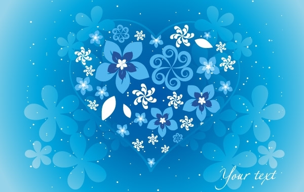 Free Blue Floral Heart
