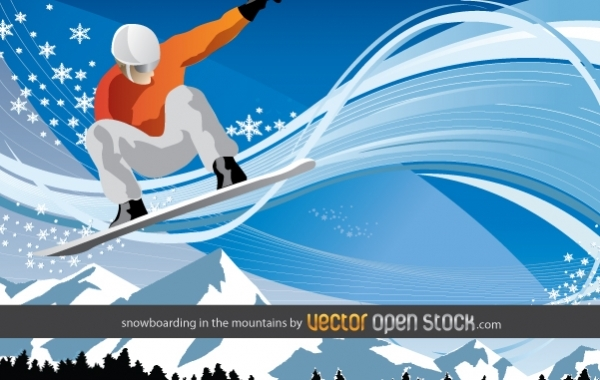 Free Vectors: Snowboarding in the mountains | Vector Open Stock