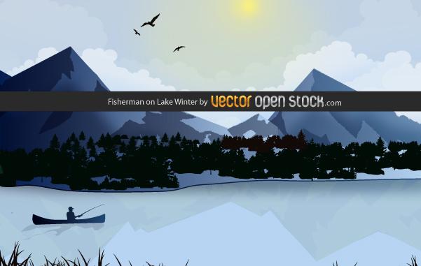 Free Fisherman on Lake Winter