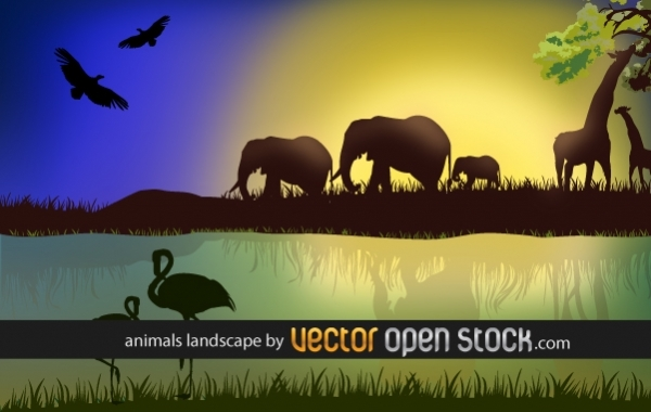 Free African landscape with animals