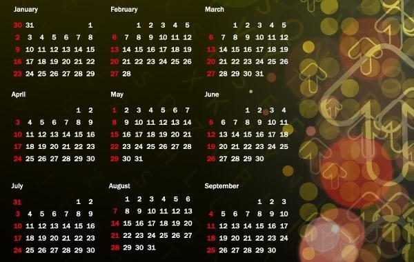 Colorful 2011 Vector Calendar 16