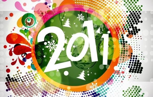 Free 2011 New Year Floral Backgound Vector Graphic