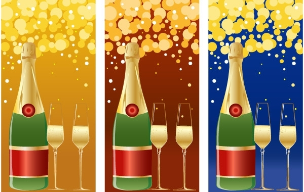 Free VECTOR CHAMPAGNE NEW YEARS BACKGROUND
