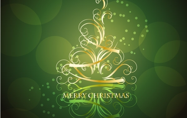 Free Golden Swirling Christmas Tree with Blackish Green Background