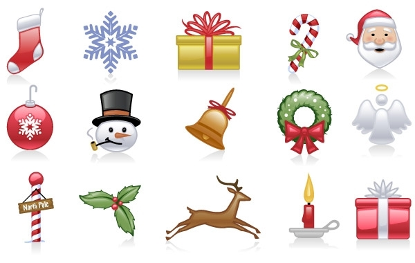 Free Vectors: Shiny holiday and Christmas icons | Bazaar Designs