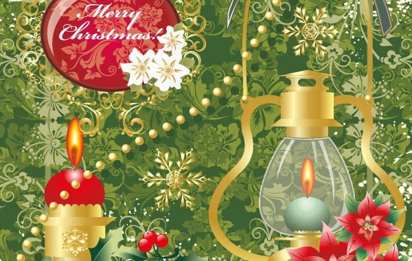Free Floral merry christmas with oil lamp