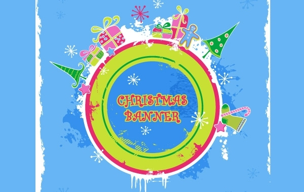 Free Cute candy-colored christmas banner