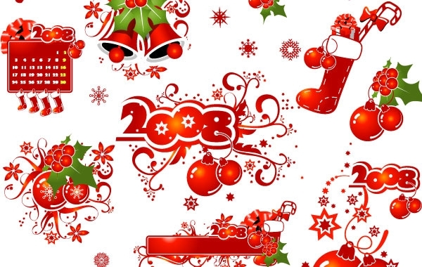 Free 2008 CHRISTMAS DECORATION ELEMENTS AND PATTERNS VECTOR MATERIAL