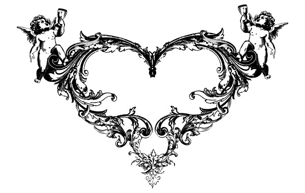 Free FANTASY HEART ANGEL ORNATE FREE VECTOR