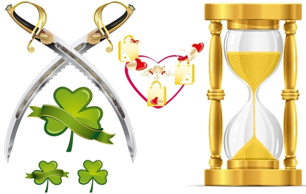 Free HEART-SHAPED LEAVES AND FUNNEL-KNIFE VECTOR MATERIAL
