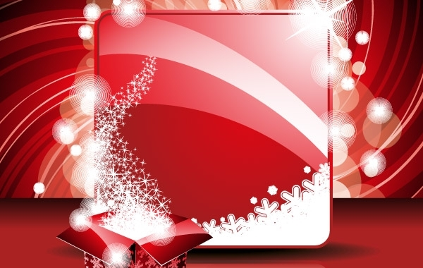 Free New Year Greeting Card and Gift Box Template
