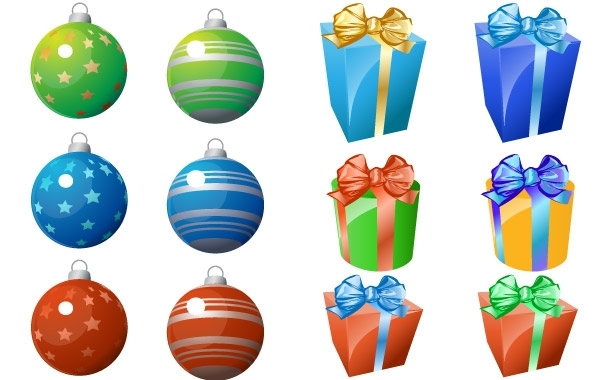 Free CHRISTMAS ORNAMENT AND GIFT ICONS