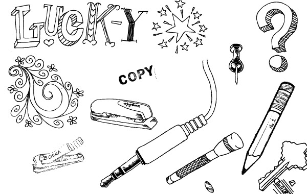 Free A set of hand drawn objects free vector