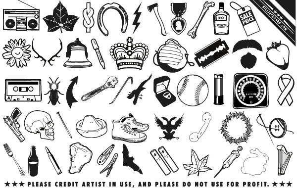 Free Random scrap icons and useless ephemera