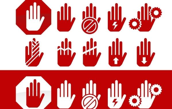 Free Hand hazard symbols