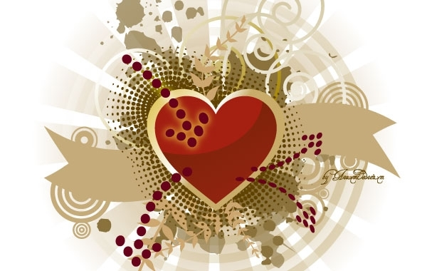 Free Heart, splatter and banners free vector