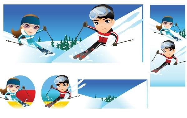 Free Snow boarding vector 10