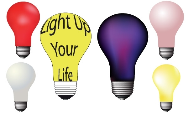 Free Different colour light bulbs free vector