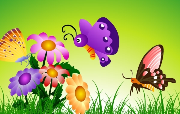Free butterflies and flowers 8