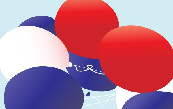 Free Red, white and blue patriotic balloons vector