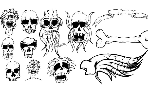 Free Different types of skulls free vector