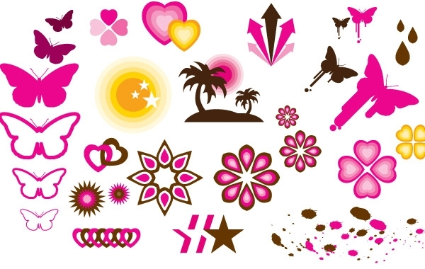 Free Butterly love and star patern vector