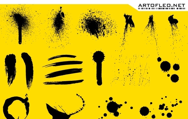 Free Stroke, ink and spray free vector on yellow background