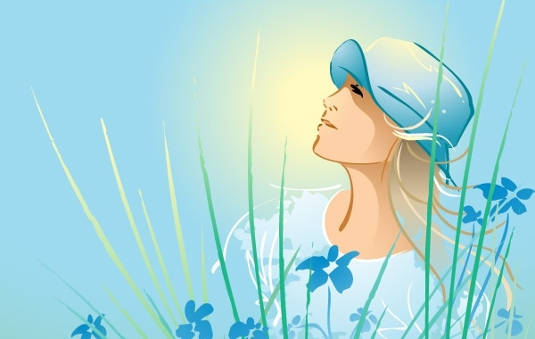Free Vectors: Beautiful girl relax 8 | Anonymous