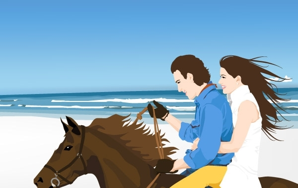 Free Couple on the hourse free vector