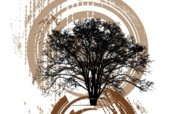Free Silhouette of tree on grunge background