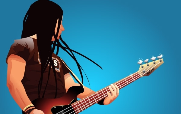 Free Bass player Vector Graphic