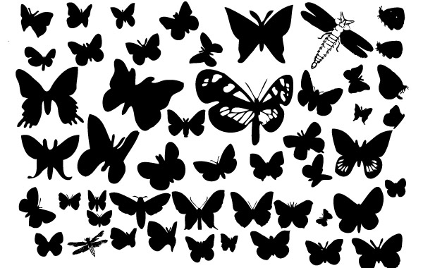 Free Vectors: Butterfly silhouettes | freedesignmagazine