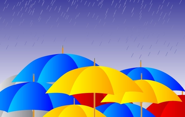 Free Free Umbrellas in the rain Vector