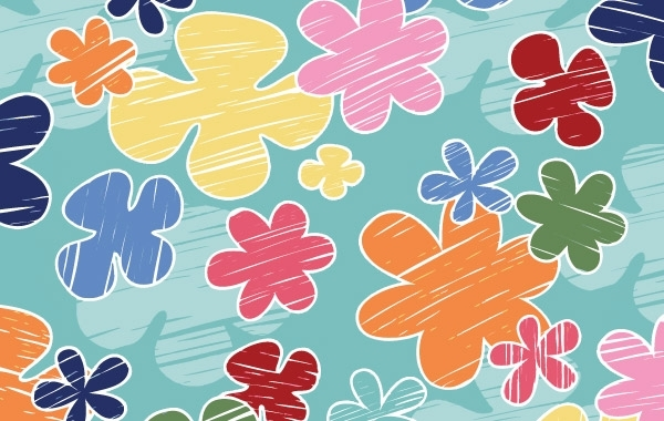 Free Children's crayon flower vector pattern- Free