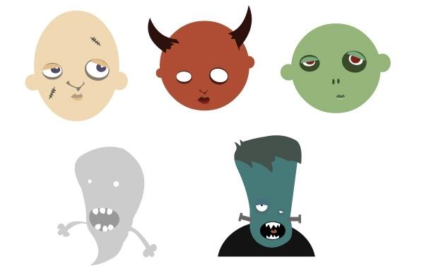 Free Free vector halloween heads