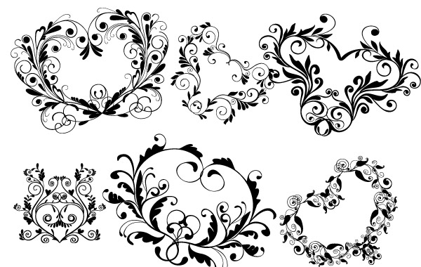 Free Ornamental heart shapes