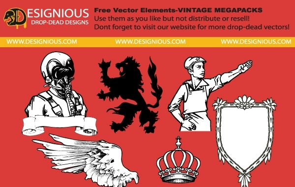 Free Free vector elements from vintage mega pack