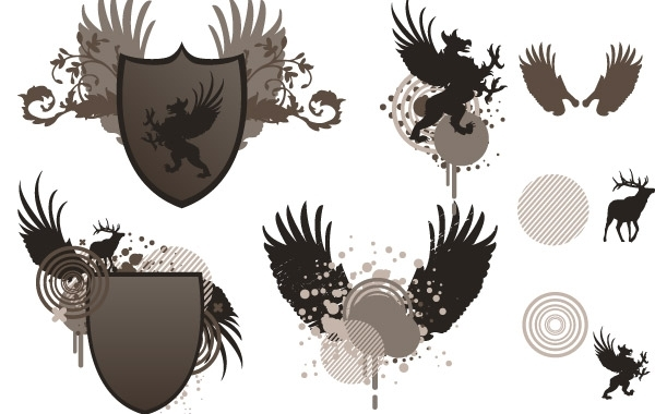 Free Shield and wing free vector