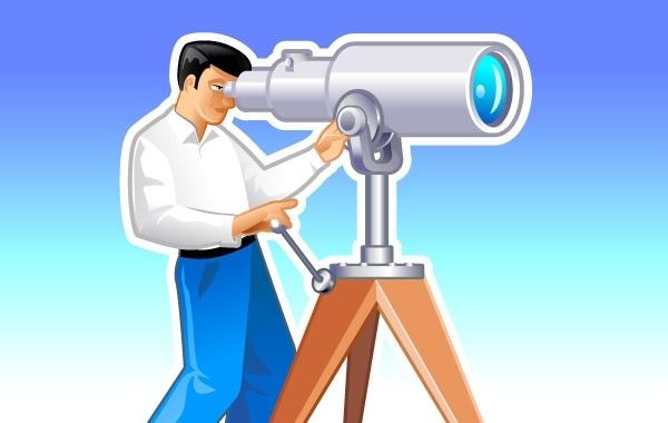 Free Navigator looks forward through the telescope