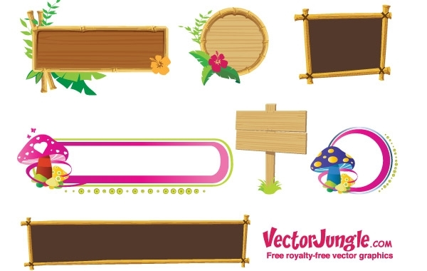 Free Wood banners and frames free vector