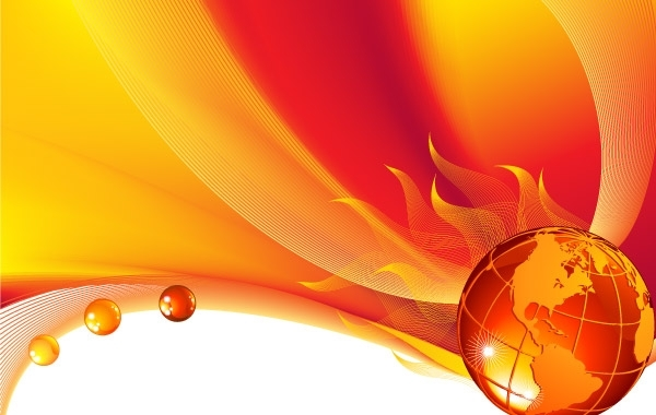Free Burning globe on a abstract background