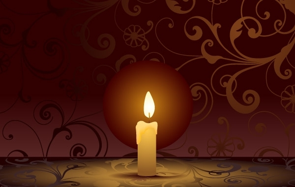 Free Candle on decorative background