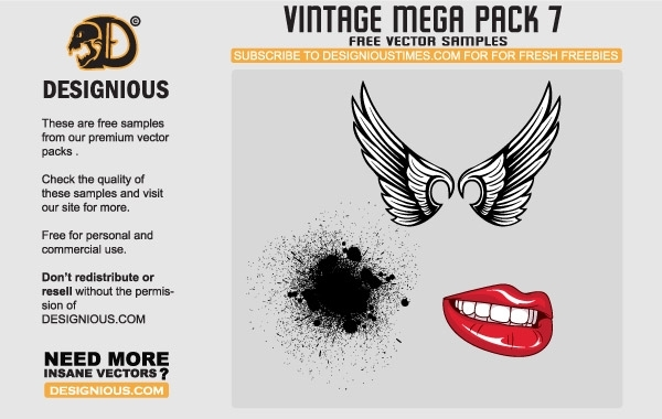Free Wings, lips and pattern vector samples