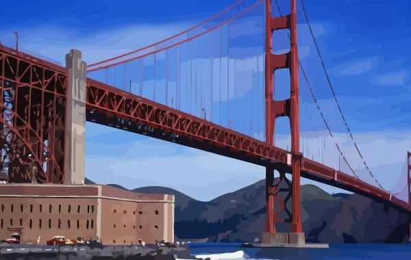 Free Vectors: Golden Gate Bridge vector | Adi007