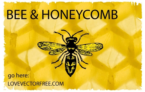Free Bee and Honeycomb